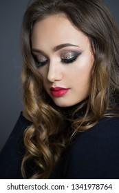 Portrait of young brunette cosmetics beauty.
