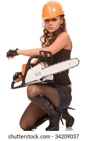 portrait of the young brunette woman in helmet with a hand saw on a white background