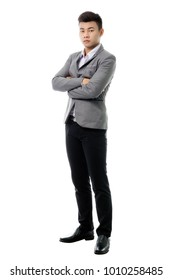 Portrait of a young business man. Isolated full length on white background