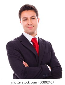 Portrait of a young business man isolated on white background