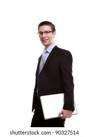 Portrait of young business man with laptop against white background