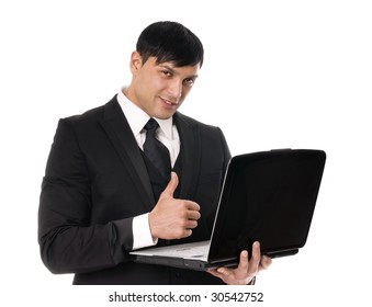 Portrait of young business man witrh laptop on white background.