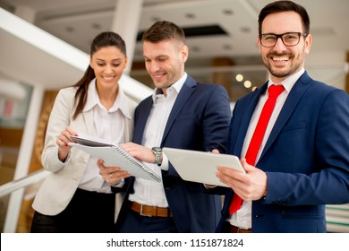Portrait of young business people standing in the office