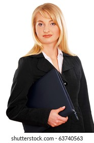 Portrait of young business woman isolated on white