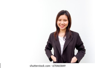 Portrait of young business woman with isolated background, happiness concept, asian girl with braces