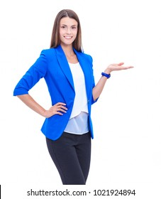Portrait of young business woman pointing isolated on white background
