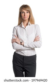 Portrait of young business woman white shirt black trousers pants isolated