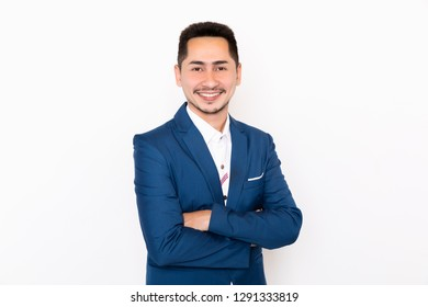 Portrait young businessman casual on white background