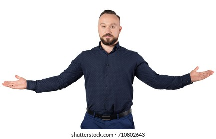 Portrait of young businessman, isolated on white background. Self-confident man. Business success concept.