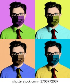 Portrait of young businessman with mask in the style of pop art