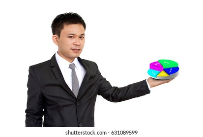 Portrait of a young businessman presenting graphical data, isolated on white background