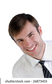 Portrait of  young businessman in  shirt with  tie isolated on white