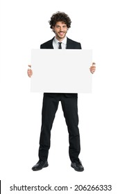Portrait Of Young Businessman Showing Sign Isolated On White Background