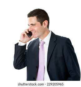 Portrait of Young businessman in suit talking on smart phone.Isolated on white background.