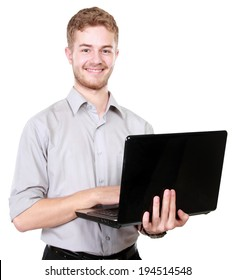 portrait of Young businessman using laptop pc on white background