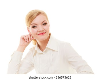 Portrait of young businesswoman boss beautiful blond woman in shirt isolated on white. Business worker.
