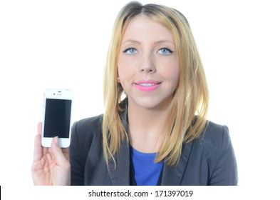 Portrait of young businesswoman with cell phone