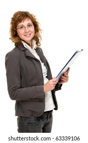 Portrait of a young businesswoman with file in her hands