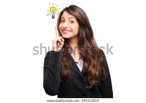 Portrait of a young businesswoman having a brilliant idea