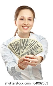 Portrait of young businesswoman holding dollar bills isolated over white background