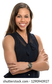Portrait of young businesswoman smiling isolated over white background