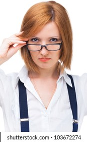 portrait of young businesswoman wearing glasses, with a serious face