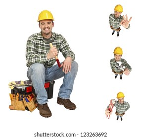 portrait of young  carpenter in different position