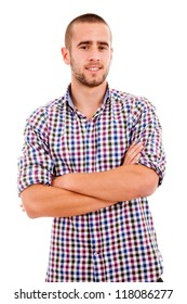 Portrait of young casual man smiling, isolated on white