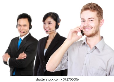 A portrait of a young caucasian calling call center. isolated in white background
