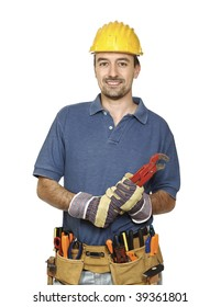 portrait of young caucasian handyman isolated on white background