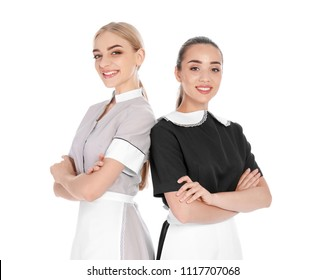 Portrait of young chambermaids on white background