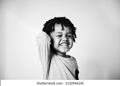 Portrait of young cheerful african boy
