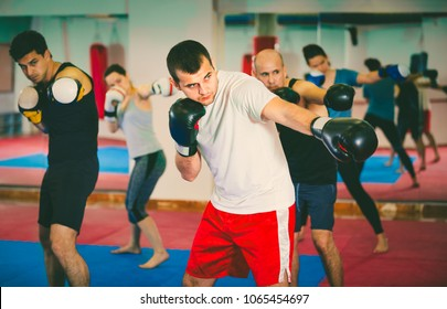 Portrait of young cheerful positive females and males training in boxing gloves