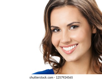 Portrait of young cheerful smiling woman, isolated over white background