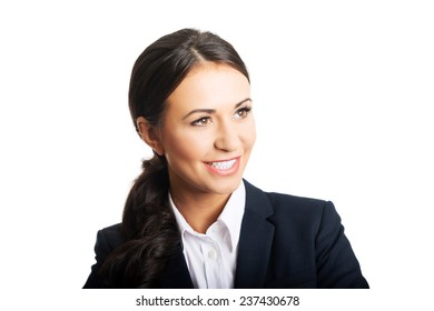 Portrait of a young confident business woman smiling.