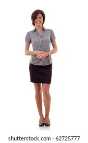 Portrait of a young confident business woman on white background