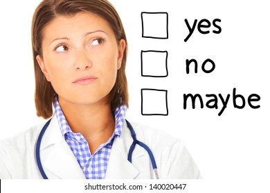 A portrait of a young confused doctor over white background