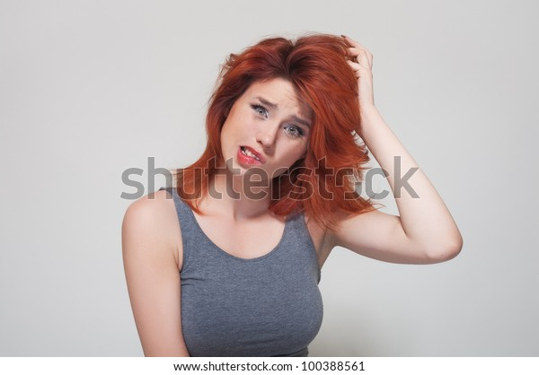 Portrait of young confused  girl