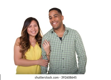 Portrait of a young couple, isolated