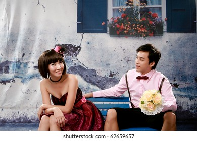 Portrait of young couple in lovely action