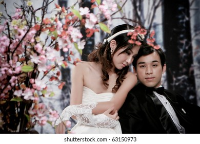 Portrait of young couple in romantic action