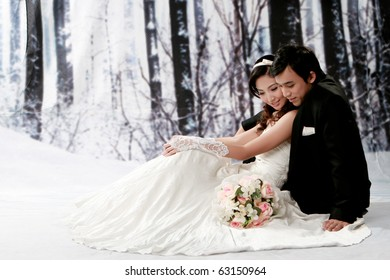 Portrait of young couple in romantic emotion