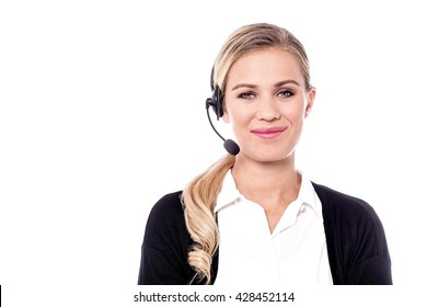 Portrait of young customer support executive over white