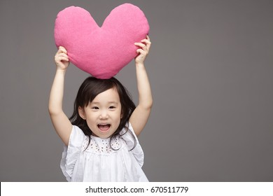 Portrait of young cute asian little girl.