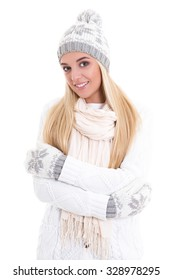 portrait of young cute beautiful woman in winter clothes isolated on white background