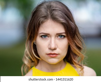 Portrait of Young Cute Caucasian Girl