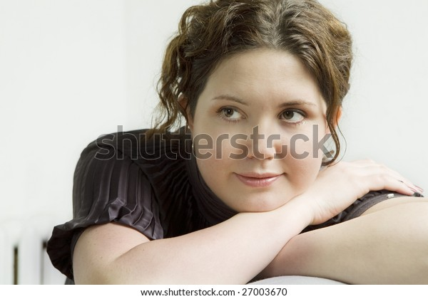 portrait of young cute  teen girl.  White background