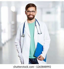 Portrait of a young doctor at the clinic