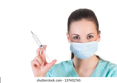 portrait of a young doctor with mask over white background