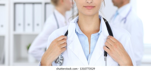 Portrait of young doctor woman  in hospital. Hispanic or latin american staff in medicine